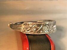 Vintage Tibet/Nepal Religious Ceremony Sterling Silver Cuff Bracelet