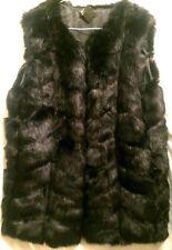 Women Statement Black Sleeveless Faux Fur Jacket Coat Waistcoat Coat Winter Warm