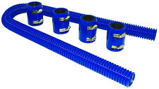 "48"" Blue Stainless Flexible Radiator Hose Kit W/ Billet Clamp Covers Chevy Ford"