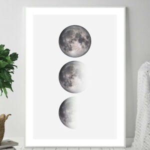THE MOON Phases Photograph Illustration Wall Art Print Poster Space A4 A3 A2 A1