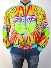Designer Look Men's Satin Vtg Retro Collectors Print Bomber Jacket sz L/XL BK26