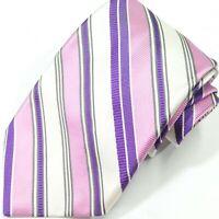 ROBERT TALBOTT Studio Spring Purple Pink Pastel Stripe Silk USA Men's Necktie