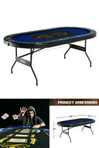 10 Player Poker Table Folding w/Cup Holders Blackjack Texas Holdem Casino Game