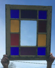 Antique Colored Stained Glass Shabby Window Sash Chic Vtg 20X24 110-19Lr