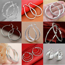 Fashion Women 925 Silver Ear Stud Hoop Dangle Earrings Wedding Jewelry Gift