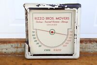 Vintage Rizzo Bros Movers Chicago Square Glass Thermometer advertising Art Deco