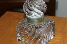 Vintage European Design Ink Well  Round Large Top & Base Cut Glass