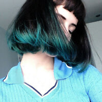 Harajuku Black Green Neat Bangs Wig Short Straight Cosplay Ombre Colors Bob Hair