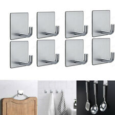 8X Self Adhesive Hooks Stainless Steel Strong Sticky Stick on Wall Door Hanger