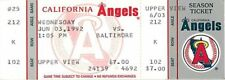 Baseball Ticket California Angels - 1992 - 6/3 Baltimore Orioles Full
