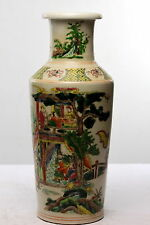 Antique Chinese Rouleau Porcelain Vase Kangxi marks Pavillion & Figures Buddhist