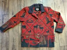 County Clothing Co Red Outdoors Graphic Suede Collar Jacket Unisex Size M