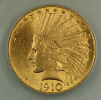 1910 $10 Indian Gold Eagle Coin ANACS MS-60 Details Cleaned