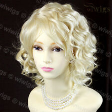 Pale Blonde Lovely Summer Style Curly Short Skin Top Ladies Wig From WIWIGS UK