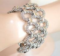 BRACCIALE argento donna intrecciato semi rigido elegante acciaio bracelet 620