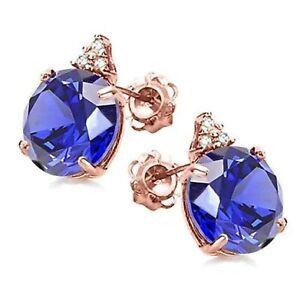TANZANITE & DIAMOND EARRINGS SOLID 10K ROSE GOLD HALLMARKED GENUINE AAA