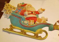 Vintage Molded Light Weight Plastic Santa in Sleigh & Reindeer Wall Decor