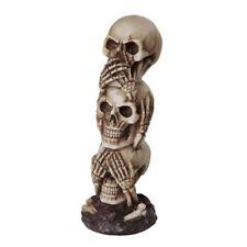 """7.5"""" Tall See Hear Speak no Evil Skull Tower"""