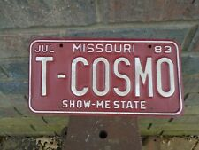 Vintage # T - COSMO personalized VANITY 1983 Missouri License Plate