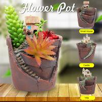 Sky Garden Castle Planter Herb Flower Cactus Succulent Plant Resin Round Pot