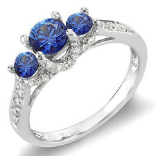 14K White Gold Diamond & Sapphire 3 Stone Ladies Bridal Engagement Ring Size 8.5