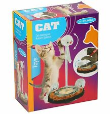 CAT KITTEN TOY BALL GAME ACTIVITY PET FUN SPIRAL PLAY POST SCRATCH FAKE MOUSE