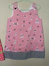 Handmade 4T 5T Poodle Dog Shift Dress Pink Black Boutique Puppy Gingham Sleevele