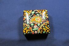 "4"" Square Lacquered Paper Mache Wonderful Colorful Box India, Lawrence Bentley"