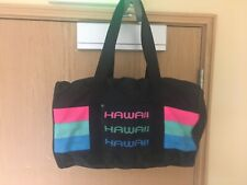 Vintage Hawaii Duffle Bag Gym Travel Carry On Tote Black Multi Color Retro