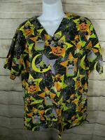 Halloween Small Medium Scrub Top Black Cat Pumpkin Nurse Uniform Womens Cotton