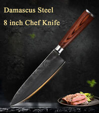 8 Inch Damascus Chef Knife Japanese AUS-10 Stainless Steel Knife w/ Wood Handle