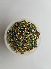 25- 8mm aqua blue on gold wedding rings