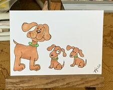 "ACEO ORIGINAL Miniature Art By PJR ""Brothers!"" Collectible Painting Dogs Puppy"