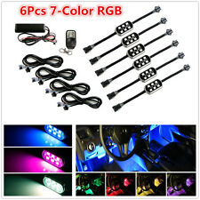 6 Pods 7-Colors RGB LED Flexible Car Interior Underbody Accent Lighting Neon Kit
