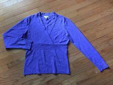 Charter Club Long Sleeve Faux Wrap Sweater in Purple Sz S