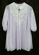 Vtg Light Lavender Purple & White Sheer Baby Doll Peignoir Small lingerie robe