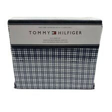 Tommy Hilfiger 4 Piece Blue White Plaid Striped Full Sheet Set