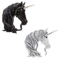 Jewelled Unicorn Head Bust Art Home Decor Ornament Black / White Figurine Statue