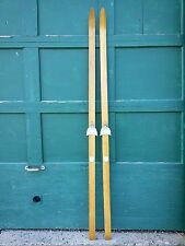"""VINTAGE Set 83"""" Long Wooden Skis with Blond Finish with Metal Bindings"""
