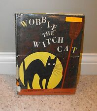 VTG Wobble the Witch Cat Book Mary Calhoun Black Luck Halloween Night Broom Moon