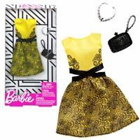 Cocktailkleid gelb   Barbie   Mattel FXJ08   Trend Mode Puppen-Kleidung