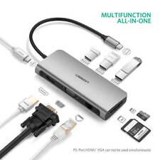 Ugreen USB Hub 10 in 1 3 Type C Adapter Dock 3 USB 3.0 Port 4k HDMI 1080mfs