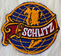 Vintage 70s SCHLITZ Beer Globe Embroidered Patch Iron On Sew Milwaukee Wisconsin