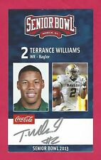TERRANCE WILLIAMS 2013 SENIOR BOWL AUTO BAYLOR BEARS RC SIGNED DALLAS COWBOYS B