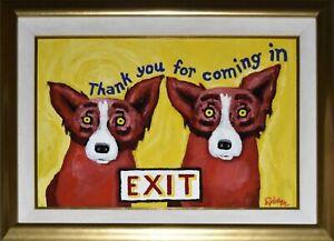 George Rodrigue Blue Dog Original Red Dogs Oil on Canvas Signed Artwork