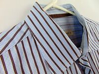 Pronto Uomo Mens XL Dress Shirt Blue Brown Stripes Size Extra Large Long Sleeve