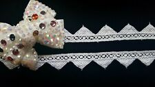 NEW GUIPURE  LACE TRIM RIBBON WHITE 2CM WIDE SEWING CRAFTING - 2 YARDS