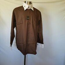 Giorgio Ferraro Dress Shirt 17 34/35 Taupe Double Cuff Single Needle