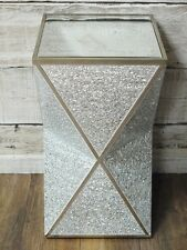 Crackle Mirrored Glass & Wood Coffee Side End Table Plant Storage Display Stand