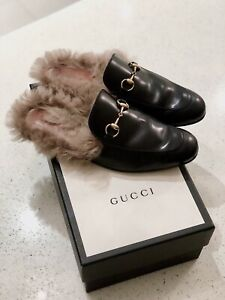 Gucci Princetown Loafers Black, Leather, Fur, Size 9, Size 42, Men's, RRP $1515